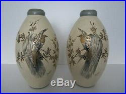 Paire De Grands Vases En Ceramique Art Deco Pinon Heuze/old Ceramic Vase