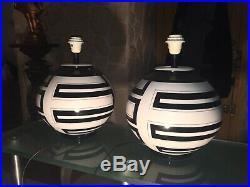 Paire De Lampes Boules En Céramique Style Art Deco Design By Louis Drimmer