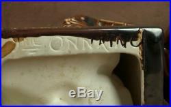 Paire De Serre Livre Ceramique D'onnaing Lion Lionne Signe Lefebvre Art Deco