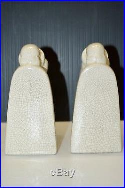 Paire De Serre Livres En Ceramique Craquelee Art Deco L Fontinelle Pierrot