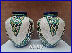 Paire De Vases Art Déco, Céramique, Charles Catteau, Années 1920/193