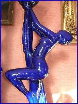 Paire Lampes Art Deco Femme Nue Hauteur 63 CM