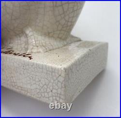 Paire Serre Livres Art Déco Louis Fontinelle Céramique Craquelée Grès Oiseaux
