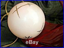 Paire d'anciennes lampes chevet art déco-céramique rouge-veilleuses boules rose