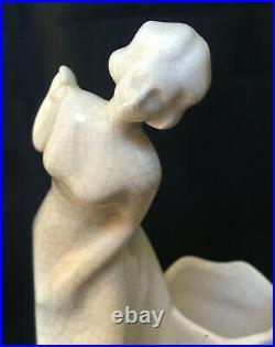 Paire de Serre livre Art Déco Jeune femme jouant Emaux de Louvière craquellé