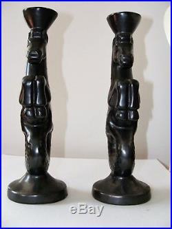 Paire de bougeoir en céramique années 50 (Poséidon Hippocampe)