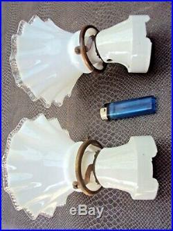 Paire de lampe art-déco en céramique et verre début 20 ème