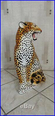 Paire de panthères céramique hauteur 65 cm