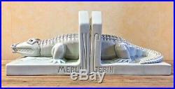 Paire de serre-livres Crocodile Art-Déco vers 1930 en céramique