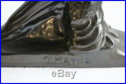 Paire de serre-livres céramique Art déco J. MAYOR NYON Suisse pigeons (35701)