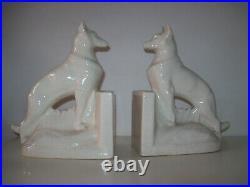 Paire de serre livres en céramique craquelée Art Déco
