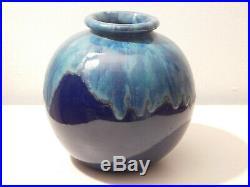 Paire de vases boule Art Déco céramique vernissée signée CAB Félix GETE 1930