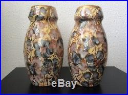 Paire de vases céramique émaillée et dorée à décor floral signé D'Argyl Art Déco