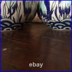 Paire vase art deco En Ceramique Craquelé DLG (catteau Chevalier) La Louvière