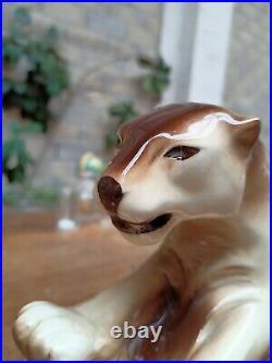 Panthere En Ceramique Polychrome Vintage Art Deco Style Lemanceau