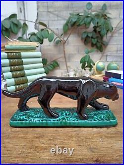 Panthere En Ceramique Vallauris Noire Vintage Style Art Deco Fpp 396