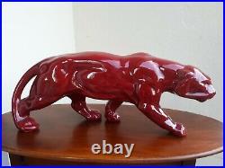 Panthere en ceramique rouge art deco long48 larg13 ht20