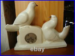 Pendulette + 2 Vases Faience Ceranord Art Deco Horlogerie Scout