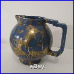 Pichet art déco céramique bleue de Lucien Brisdoux