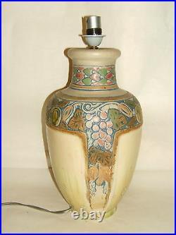 Pied De Lampe Gres Cristalise J. Mougin 301 J Art Deco Fruits En Relief
