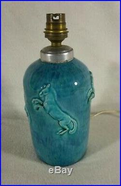 Pied de lampe Céramique émaillée Bleu turquoise René Meynial Letessier Art-déco