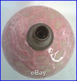 Pied de lampe en faïence crispée céramique la charentaise renoleau 1930-40