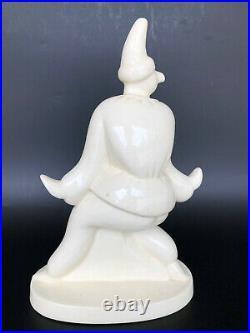 Pimavera Sculpture Art Déco Céramique Craquelée Arlequin Polichinelle 20th