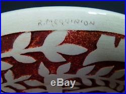 Plat céramique Art Déco animaliers signé Roger MEQUINION 28 cm MARSEILLE FRENCH