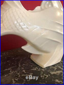 Poisson en céramique Art Déco émaillée craquelée signé LEJAN