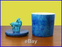 Pot Art Déco En Céramique Émaillée Bleue Art Deco Blue Pot