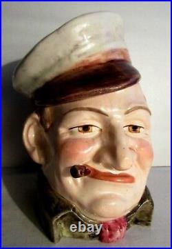 Pot à tabac Art Nouveau Déco, barbotine Marin à la casquette et au mégot