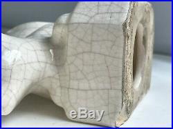Presse-livres en céramique craquelée Chat XXe ART DECO