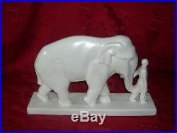 RARE ELEPHANT ET CORNAC signe STEF Ceramique craquelee annees 30 ART DECO