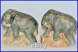 RARE PAIRE de SERRE LIVRES CERAMIQUE ART DECO ELEPHANTS STR France Jean BESNARD