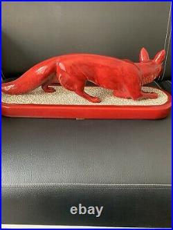 RENARD DANS LA NEIGE en Céramique rouge PM PAUL MILET SEVRES Art Déco 1930