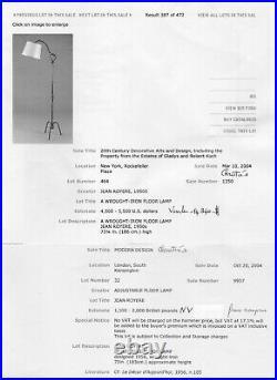 ROYERE ou ADNET LAMPADAIRE EN FER FORGE 1940 1950 AV DEUX CÉRAMIQUES gout JOUVE