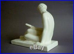 R A Philippe La Liseuse Ceramique Craquele Art Deco 1930 Hbcm
