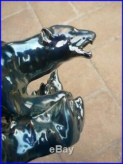 Rare Ceramique Art Deco Ours Reflets Metalliques Alphonse Cytere Rambervillers