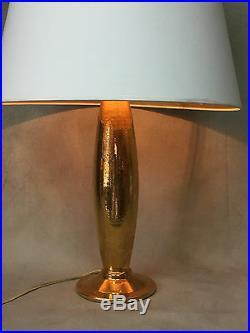 Rare Lampe De Robj En Ceramique Emaillée Doré Epoque Art Deco De 38 CM De Haut
