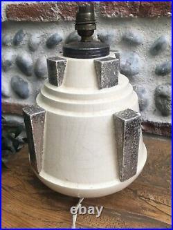 Rare TreS Belle Lampe Signé CH Charles Harva 1930 Art Deco Céramique Craquelée