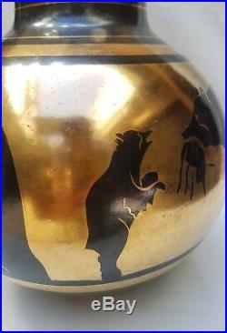 Rare Vase aux ours Céramique Art Déco, émaillé noir et or Boch La Louvière