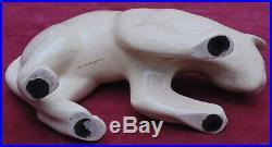 Rare magnifique ancien chat céramique craquelé art déco signé le dauphin