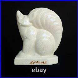 Rare renard Art Deco Louis Fontinelle céramique blanche craquelée signé statue