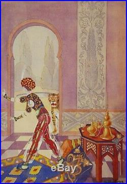 René BUTHAUD dessin aquarelle gouache Art Nouveau Déco scène exotique céramique