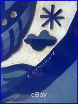 Roger Mequinion 1940 Art Deco Grand Plat Ceramique Degage A L'acide Dlg Lalique