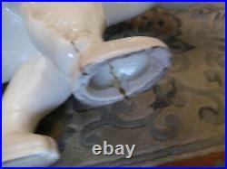SAINT CLÉMENT Grand OURS Art Déco en Céramique Craquelé 59cm de Long / Faïence