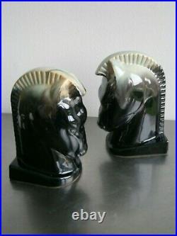 SERRE-LIVRES ANCIEN DECOR CHEVAL STYLISE ART DECO CERAMIQUE 1930 NOIRE St BELGE