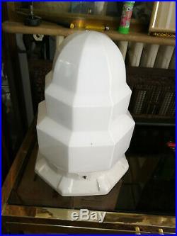 SKYSCRAPER LAMPE BULDING ART DECO ceramique GLOBE OPALINE