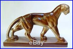 STATUE ANIMALIERE LIONNE PANTHERE CERAMIQUE SAINT CLEMENT ART DÉCO style Jouve