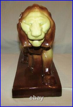 STATUE LION ART DECO ANCIENNE en ceramique / french sculpture lion